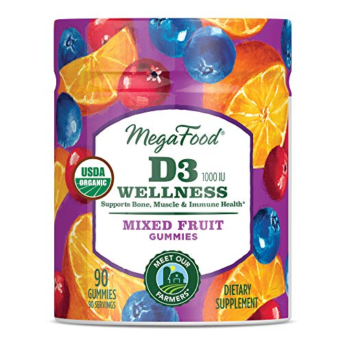 MegaFood - D3 1000 IU Wellness Gummies, Supports Bone, Muscle, and Immune Health with Organic Ginger Root, Cranberry, and Orange, Vegetarian, Gluten-Free, Non-GMO, Mixed Fruit, 90 Gummies