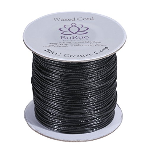 Boruo Brand 1mm Waxed Cotton Cord Beading Cord Waxed String Wax Cording Cord for Jewelry Making and Macrame Supplies 100 Yards Roll Spool Black Color with Acrylic Jar ()