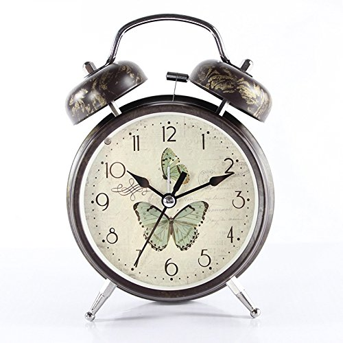 Amazon.com: Function & Satisfaction Alarm Vintage Butterfly Pattern Silent Bed Desk Alarm Clock with Night Light for Kids Students (Light Green): Home & ...
