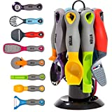 HULLR 9-Piece Kitchen Gadgets Tools Set, Pizza Cutter, Apple Corer, Vegetable Peeler, Multifunctional Bottle Opener, Cheese Slicer, Grater, Scoop, Slicer, with Rotating Stand