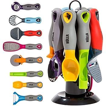 HULLR 9 Piece Kitchen Gadgets Tools Set, Pizza Cutter, Apple Corer,  Vegetable Peeler, Multifunctional Bottle Opener, Cheese Slicer, Grater,  Scoop, Slicer, ...