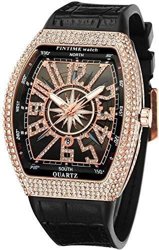 Mens Skull Big Face Watches Rectangle Punk Diamond Dial Leather Strap Calendar Quartz Sports Wrist Watch