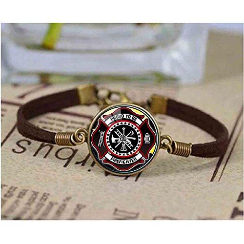 Firefighter Long Bracelet Black Plated Fire Fighter Accessories Glass Cross Bracelet Christmas Best Friends -