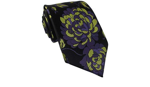 Oliver Bainbridge Corbata de seda negra con diseño de flores ...