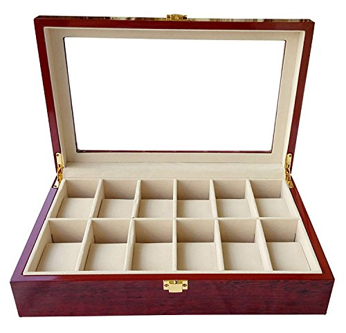 - Boby Watch Box Organizer Watch Case for Men Women Wooden 12 Slots for Display Storage Watch Holder with Glass Top Red