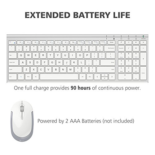 iClever GK03 Wireless Keyboard and Mouse Combo - 2.4G Portable Wireless Keyboard Mouse, Rechargeable Battery Ergonomic Design Full Size Slim Thin Stable Connection Adjustable DPI, Silver and White by iClever (Image #4)