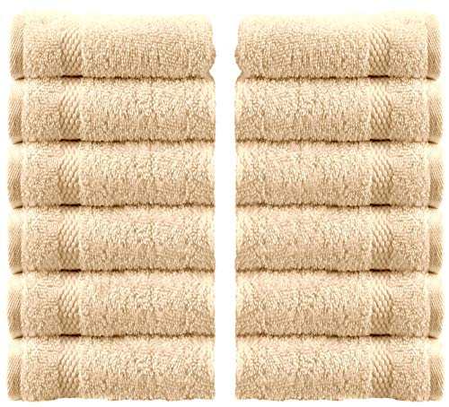 (White Classic Luxury Washcloths - Hotel Spa Collection | Circlet Egyptian Cotton | Absorbent Large Bathroom Face Towel | 13x13 Inch | Set of 12 | Beige )