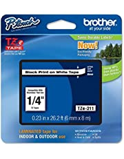 Brother Laminated Tape Black on White6mm for use on all TZ Machines (TZe211) - Retail Packaging