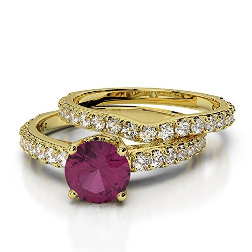 Or jaune 18carats 1CT G-H/VS Certifié Coupe ronde Rubis et diamant de mariage Bague de fiançailles et ensemble de Agdr-2055