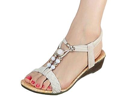 f78f274da cnWay Bohemian flat sandals Roman sandals flip belt Woman Beaded Ladies  Summer Sandals Flats Slippers Wedges ...