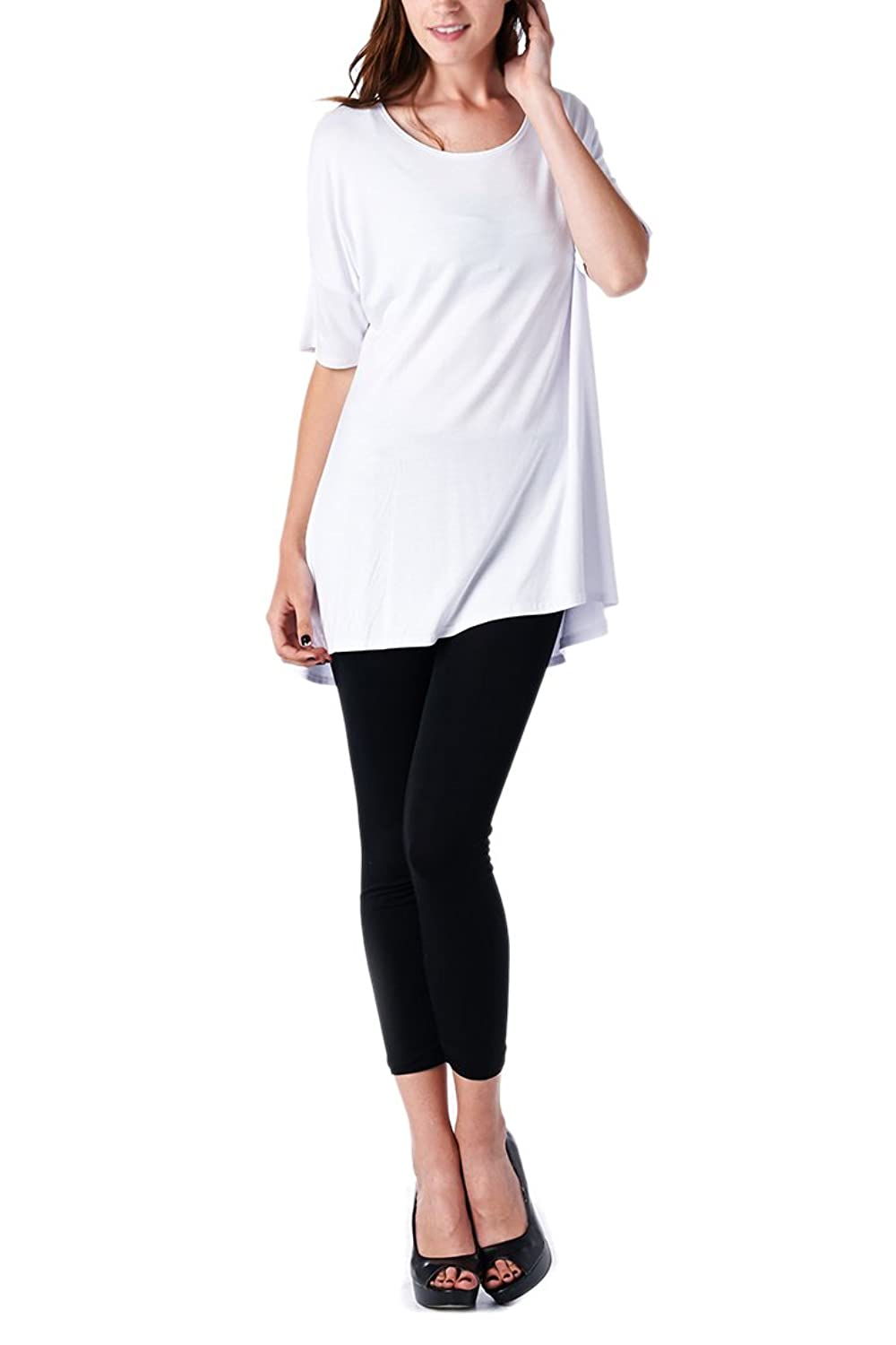 82 Days Women'S Rayon Span High & Low Short Sleeves Tunic - Solid