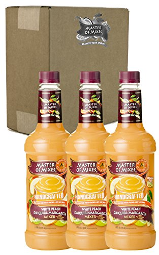 Master of Mixes White Peach Daiquiri/Margarita Drink Mix, Ready To Use, 1 Liter Bottle (33.8 Fl Oz) (Pack of 3) ()