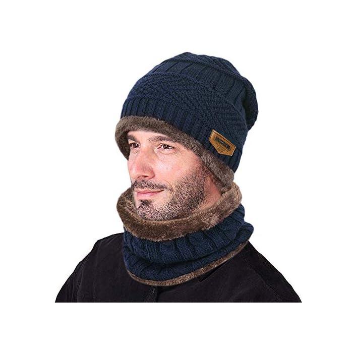 51gFOrt7Z1L Gorro de punto y bufanda con forro polar grueso y cómodo Tejido fino de punto acrílico Acrylic knit & fleece lining