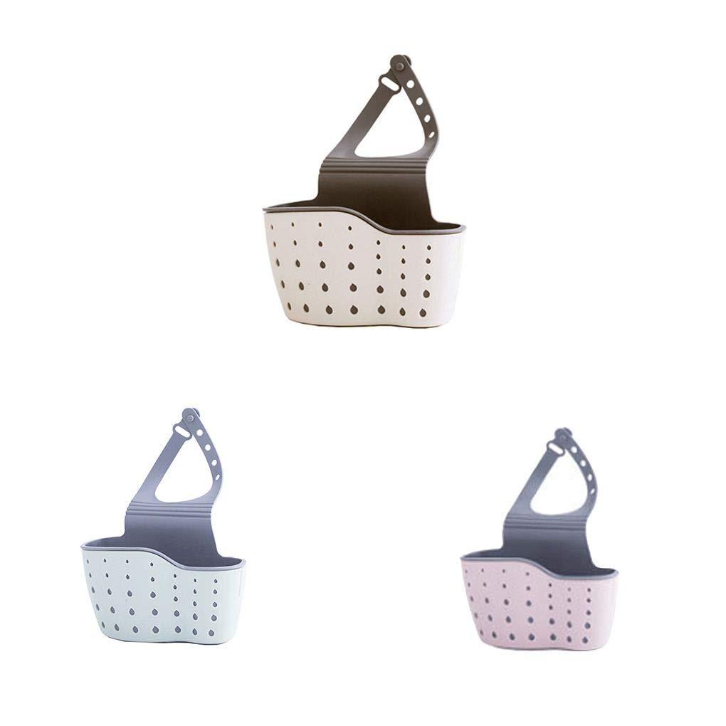Floridivy Einstellbare Snap-Sink-Schwamm Storage Rack h/ängenden Korb Bad Zubeh/ör K/üche Organizer Hanging-Speicher-Halter