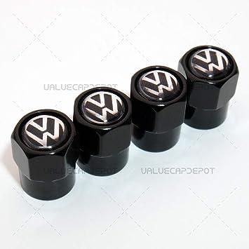 Uatuo Ventilkappen Sechseckig Schwarz Für Vw Logo Emblem Auto Rad Reifen Luftventil Vorbau Staubschutz Auto