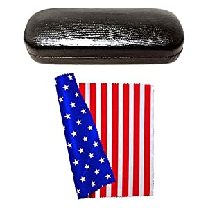 JAPAN SHOP Hard Eyeglass Case Stars and Stripes Microfiber Cleaning Cloth Set