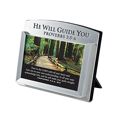 Lighthouse Christian Products He Will Guide You Metal Scripture Card Holder, 3 1/2 x 4 by Lighthouse Christian Products