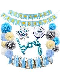 puseky Baby Shower Decoration Kit for Boy Girl Baby Shower Party Decorations Banner Foil Balloons Paper Pom-poms Lanterns Tassels