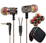 Deals & Review FreeMaster EDR1 Punk In-ear Earphones Noise Isolation Metal Housing Earbuds Mic Headset Super Bass Cool DJ Music Headphones (Black)