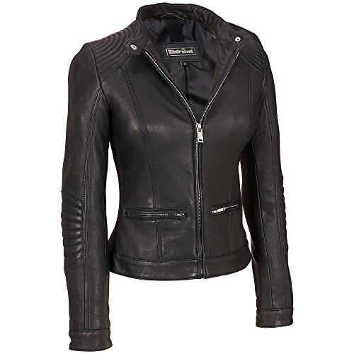 Black Rivet Womens Stitch Shoulder Lamb Jacket W/Nipped Waist M Black Black Rivet Leather Jacket