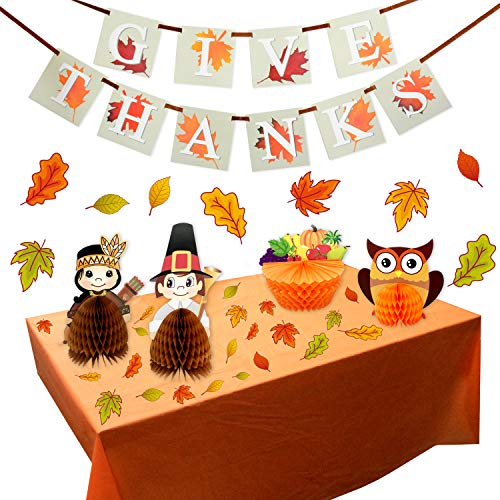 FRIDAY NIGHT 61PCS Thanksgiving Banner , Autumn Leaves Acorns Window Sticker , Table Centerpiece , Orange Tablecloth Decorations for Fall Decorations , Thanking Day , Autumn Party Decorations