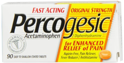 Percogesic Aspirin-Free Pain Reliever/Fever Reducer, Original, Easy to Swallow Coated Tablets, 90 coated tablets