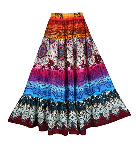 BONYA Women's Hippie Boho Colorful Tiered Elastic Stretch Waist Long Skirt (Color43)