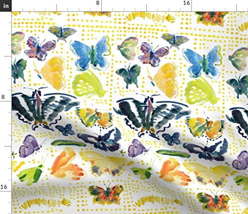 Butterfly Stripes Fabric - Butterflies Yellow Watercolor Animal Caterpillar Moth Garden Dots Animals Spring Print on Fabric by The Yard - Sport Lycra for Swimwear Performance Leggings Apparel -