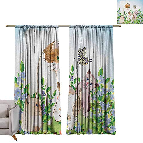 Thermal Curtains Cat,Cute Kittens in Flower Meadow Field Happy Cats Family with Butterfly Kids Cartoon Print, Multi W72 x L96 Blackout Curtains for Bedroom