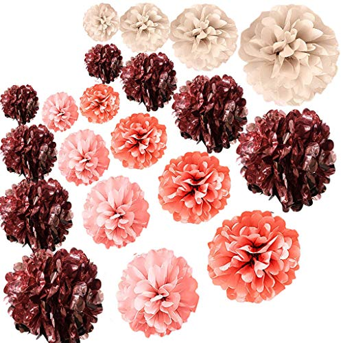 20 PCS Rose Gold Party Decorations - Metallic Foil and Tissue Paper Pom Poms - Baby Shower - Bridal Shower - Wedding - Bachelorette - Birthday Party - 14