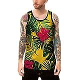 Jiayit 3D Tank Top for Teen Boys Personality Mens 3D Print Casual Slim Short-Sleeved Hiking Sport Beach Vest Tank Tops Shirt Top Blouse (2XL, Yellow Green)