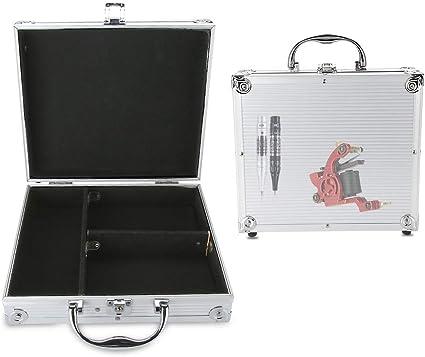 Caja de almacenamiento de la máquina del tatuaje de aluminio Ametralladora Caja de transporte Organizador vacío Espuma Pad: Amazon.es: Belleza