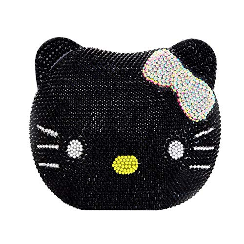 Couture Clutch - 3-D Hello Kitty Cat Crystal Couture Clutch Special Occasion Holiday Party Evening Bag Black & Silver