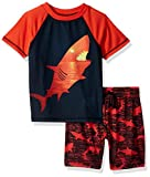 Komar Kids Boys' Big 2 Piece Jersey Short Pajama Set, Shark, Small