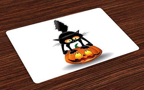 Ambesonne Halloween Place Mats Set of 4, Black Cat on Pumpkin Drawing Spooky Cartoon Characters Halloween Humor Art, Washable Fabric Placemats for Dining Room Kitchen Table Decor, Orange Black -
