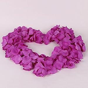 Colorfulife Simulation Rose Petals, 1200pcs Artificial Silk Rose Petal Flower Bridal for Wedding Party Valentine Supplies Room Decoration Centerpieces Confetti (5# Purple Red) 4