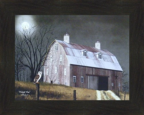 ly Jacobs 16x20 Full Moon Owl Night Barn Fence Primitive Folk Art Wall Décor Framed Picture (2