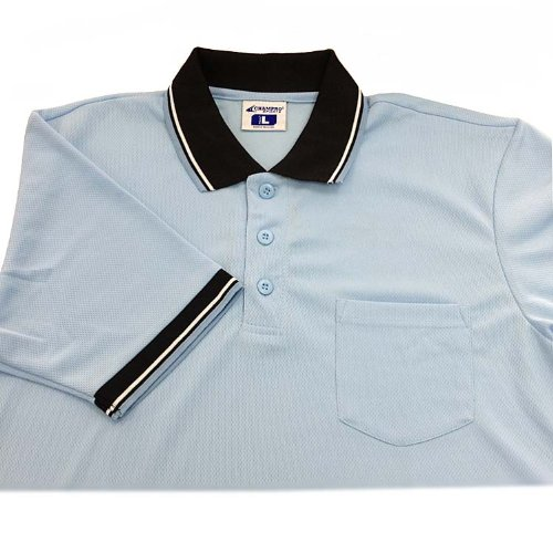CHAMPRO Dri-Gear Umpire Polos Light Blue 2Xl - Double Knit Polyester Softball Shorts