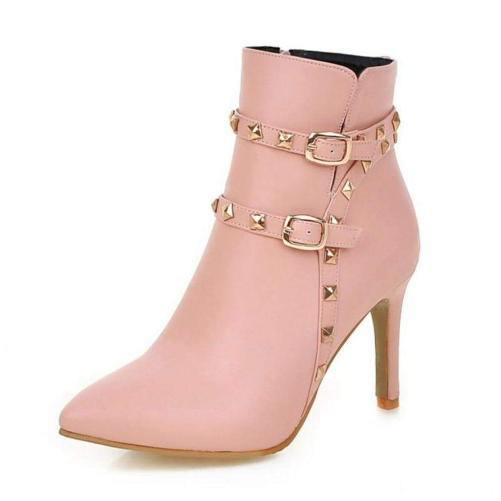 Pink Webb Perkin Women Square High Heel Winter Fringe Fashion Side Zipper Lace Up Boots Lady Suede Mid Calf Boots