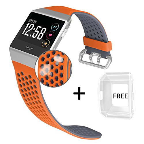 Jobese Compatible with Fitbit Ionic Bands, Breathable Silicone Sports Bands with Crystal Protective Case Compatible with Fitbit Ionic Smart Watch Soft Accessories Wristbands