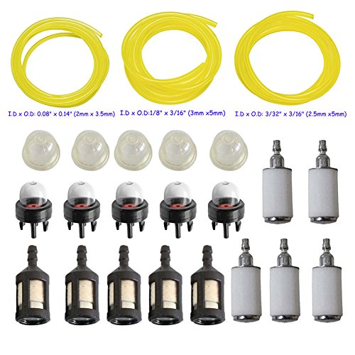 HIFROM 3 sizes Fuel Line Hose with Primer Bulb Fuel Filter for Zama Poulan Craftman STIHL Husqvarn Trimmer Chainsaw Blower Weedeater