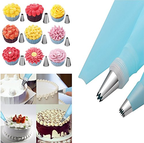 Cake Decorating Supplies with Cake Turntable 24 Stainless piping nozzles 1 Icing Spatula 1 Pastry Bag 1 Cake Brush 1 Cake Cutter 1 Cake Pen 3 Cake Scrapers cake stand 3 The turntable turns smoothly in clockwise or anticlockwise direction, can hold a cake up to 11-inches. Non-slip edge to keep the turntable from moving on your work surface All the accessories are suit for the standard of US,you can use the piping nozzles and turntable to make beautiful cake and cake flowers Baking set  is easy for kids and adults to use.   Cakebe cake piping set  is made from FDA APPROVED materials, quality and durable stainless steel.  Use these cake tools   for   fun   and   easy cake decorating. 100% satisfaction guaranteed!