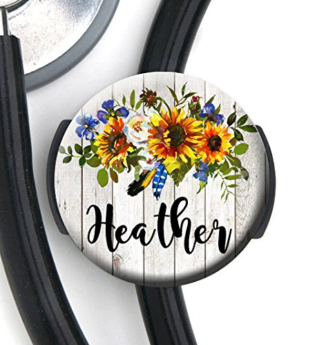 Stethoscope Tag - Rustic Sunflower and Blue Bell Floral - Personalized Name - Steth ID Tag / Nurse Badge