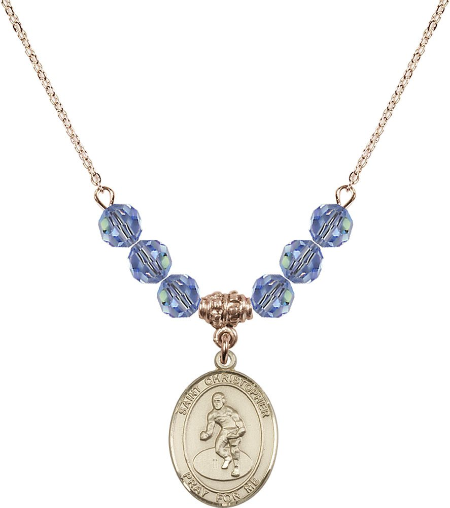 Gold Plated Necklace with 6mm Light Sapphire Birthstone Beads & Saint Christopher/Wrestling Charm.