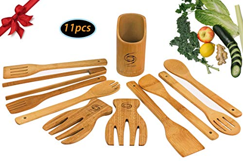 Bamboo Cooking Utensil set includes 7 Organic serving utensils with Salad tongs Reusable Eco-friendly non-scratch Perfectly completes any Kitchen - Grand Sierra Designs ()