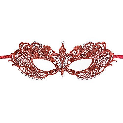 [BeyondMasquerade Anastasia Inspired Masquerade Mask Lace RHINESTONES (Dark Red)] (Red Masquerade Mask)