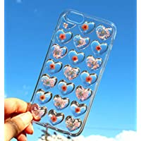 Handmade Real Pressed Dried Pink Flowers in 3D Heart Shapes iPhone 10 (X), iPhone 6/6s, iPhone 7, 7 Plus, iPhone 8, iPhone 8 Plus Floral Soft Silicone Gel Rubber Case Cover