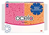 ocelo Cellulose Sponge, Colors may vary, 4-Sponges/Pk, 10-Packs, (40 Sponges Total)