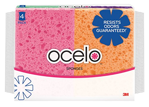 - ocelo Cellulose Sponge, Colors may vary, 4-Sponges/Pk, 10-Packs, (40 Sponges Total)