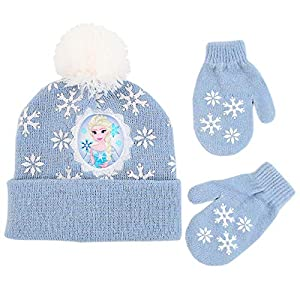 Disney Girls' Toddler Frozen Elsa Beanie Hat and Mittens